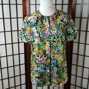 Floral Button Front Short sleeve Top